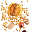 Selection of beads in amber color scheme, isolated - Stock Photo