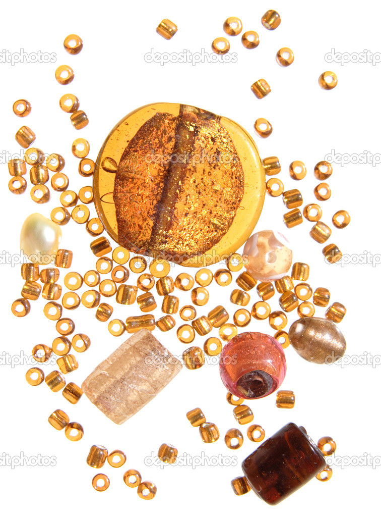 Selection of beads in amber color scheme, isolated — Stock Photo #4568468