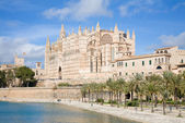 Palma de Mallorca; view over water feature towars the cathedral — Stock Photo