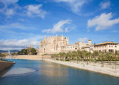 Palma de Mallorca; view over water feature towars the cathedral — Stockfoto