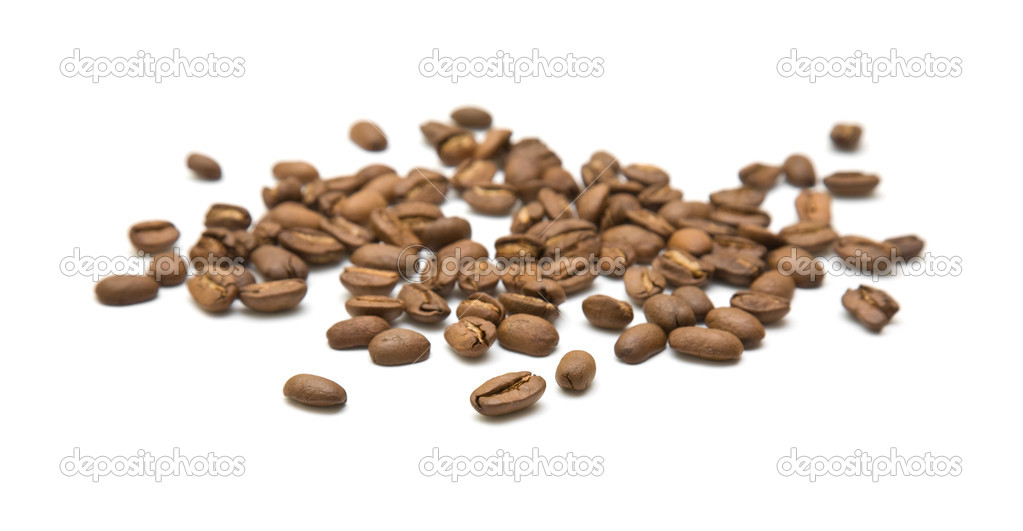 Handful of coffee beans isolated on white background — Stock Photo #4750159
