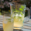 Home-made cloudy lemonade with mint and lime; set outside in sun — Stockfoto #4786386