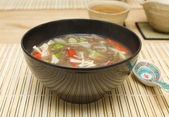 Buckwheat noodle soup — Stock Photo