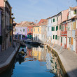Burano island in lagoon of Venice; famous brightly-colored houses — Stock Photo