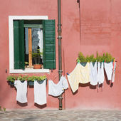 Burano island in lagoon of Venice; brightly-colored house; washing — Stock Photo