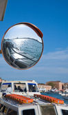 Venice vaporetto stop - safety mirror — Stock Photo