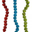 String sof heart-shaped stripy red, green and blue glass beads isolated on — Photo