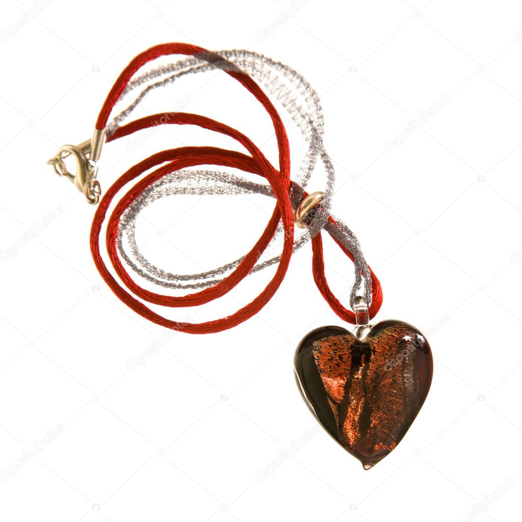 Murano glass heart-shaped red  pendant isolated on white background  Stock Photo #5205830