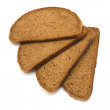Four stacked fanned slices of rye bread with caraway seeds isolated on whit - Stock Photo