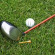 Objects of golf on the grass - Stock Photo