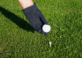 Hand in glove golf black, putting a ball on a tee peg. — Stock Photo
