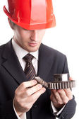 Engineer with gears — Stock Photo