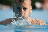 Man swimming in pool. Swim training — Stock Photo