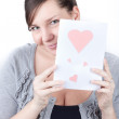 Portrait of young attractive happy woman, reading valentine card — Stock Photo #4590819