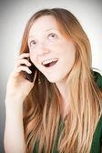 Bilden av vacker kvinna med sin mobil — Stockfoto