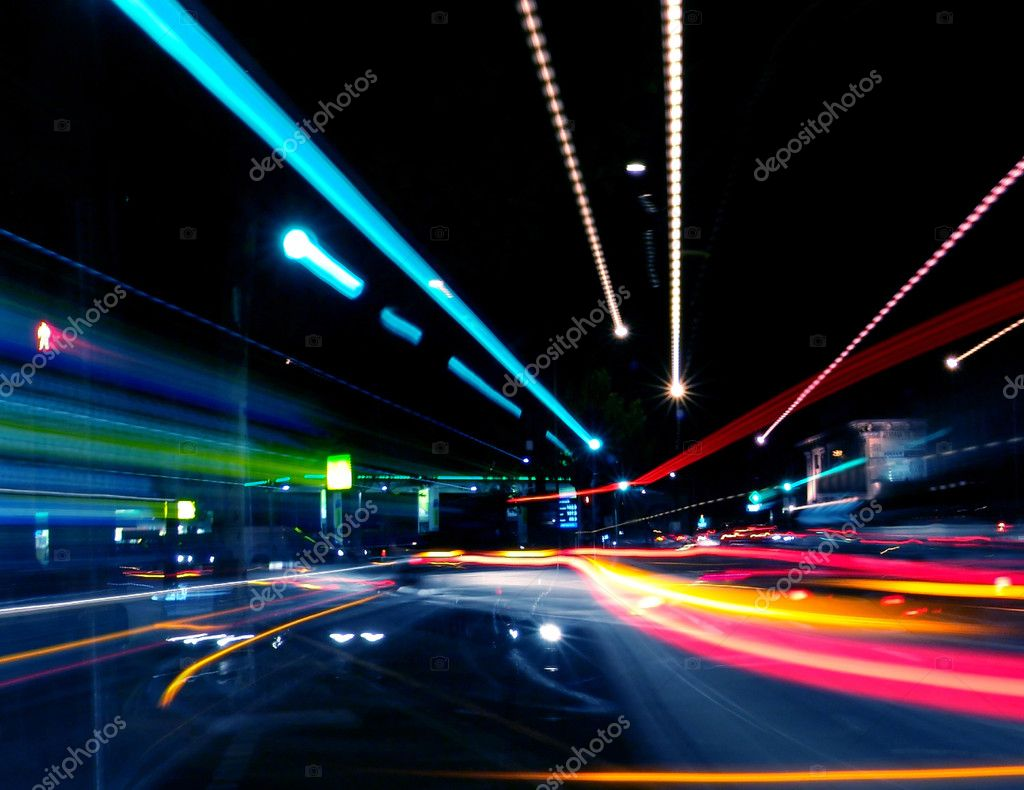Motion Blurred Abstract Street Lights — Stock Photo #5203961