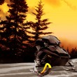 Snowmobile Sunset - Stock Photo