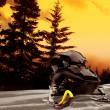 Snowmobile Sunset — Stock Photo