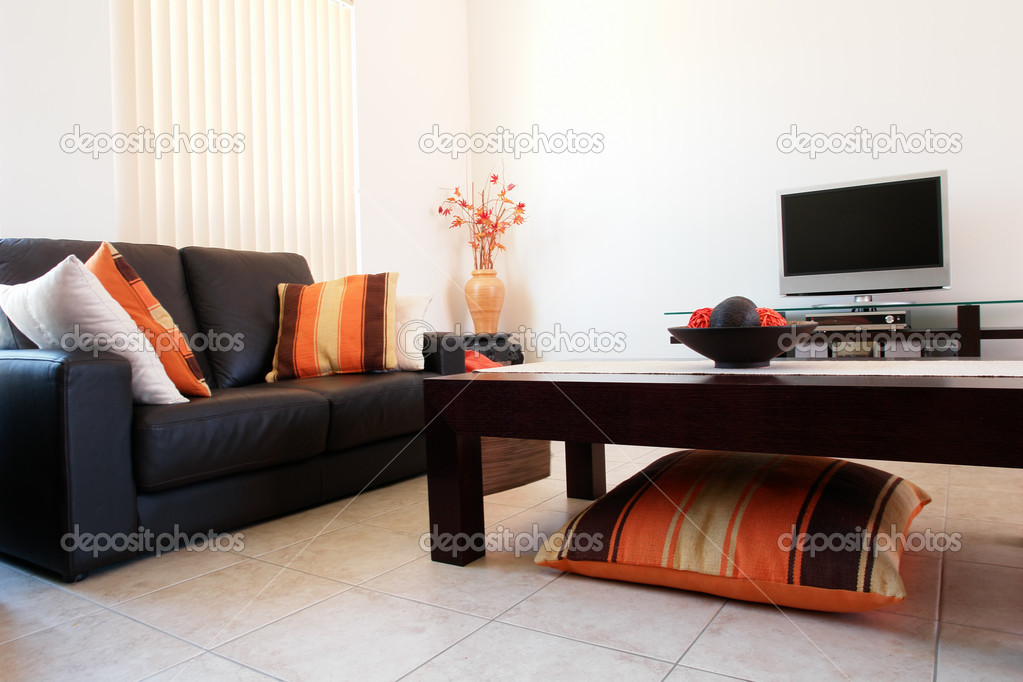 Trendy Orange and Brown Lounge Room  Stock Photo #5238576