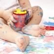 Baby and paint — Stock Photo