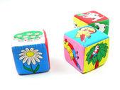 Barevná dřevěná hračka bloky — Stock fotografie