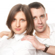 Closeup portrait of a young beautiful couple — Stock Photo #5090406