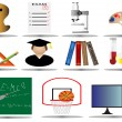 Stock Vector: Elementary school icon set,vector illustration od education icons,college i