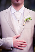 Wedding ring on grooms hand — Stock Photo