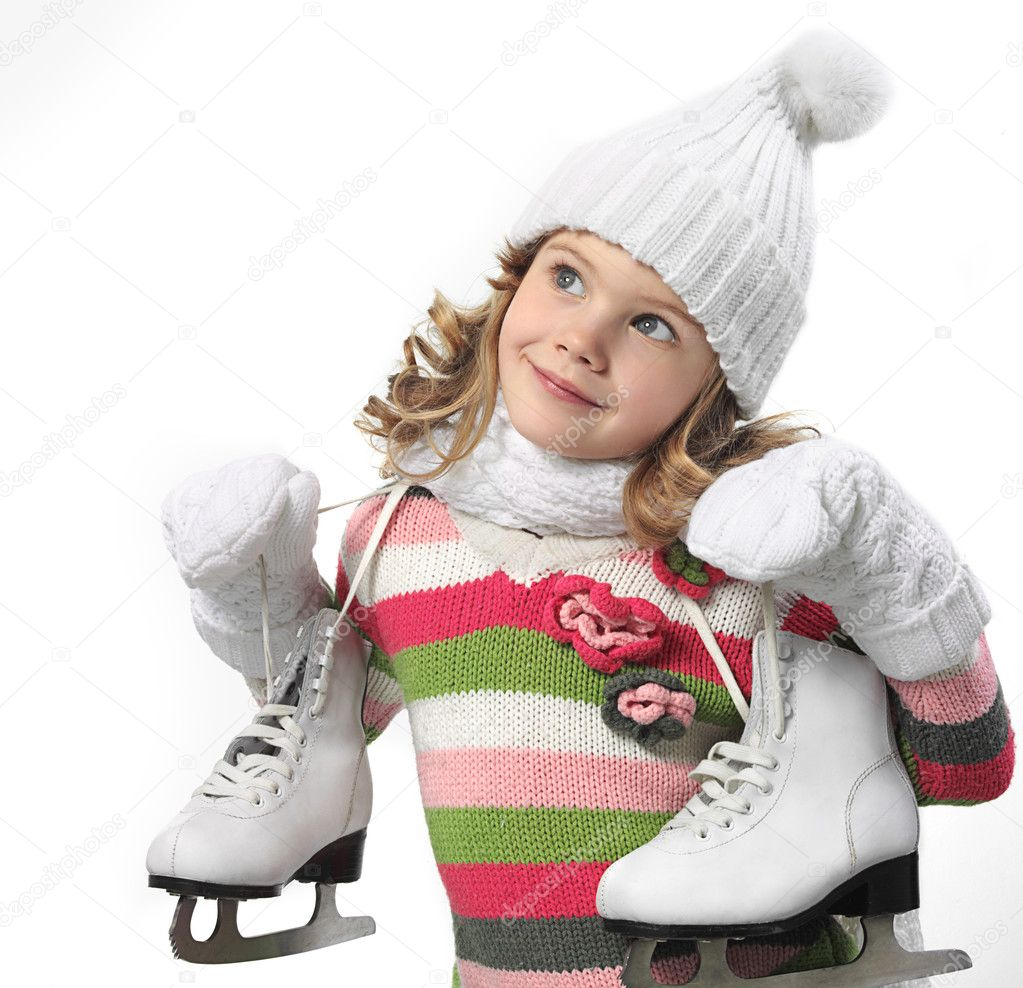 girl in winter clothes with figure skates stock photo dedukh