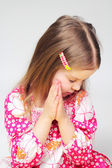 Portrait of young praying girl — Stock Photo