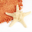 Straw hat and starfish isolated on a white background — Stok fotoğraf