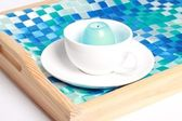 Wooden tray with some objects on isolated background — Stock Photo