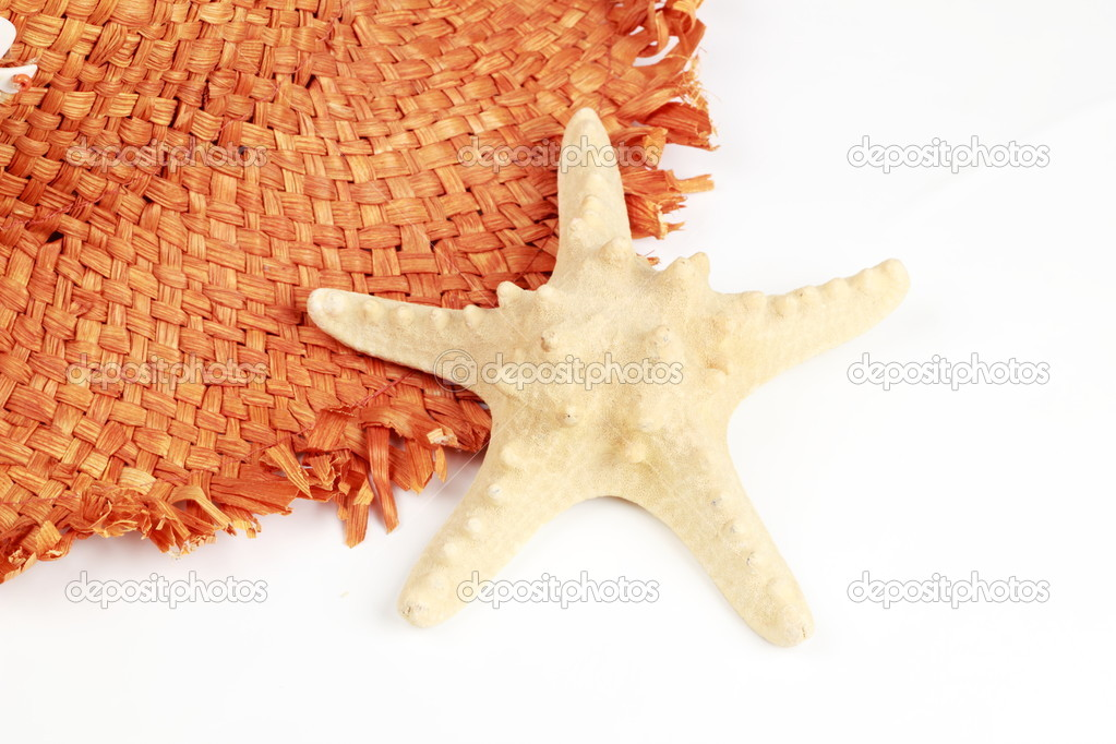 Brown straw hat lying beside the sea star — Stock Photo #5276263