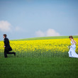 Young wedding couple - freshly wed groom and bride posing outdoo — Stock Photo