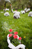 Splendid wedding venue - blossoming orchard on the 1st of May — Stock Photo