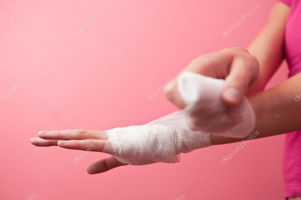 Wrist bandage (color toned image; shallow DOF)  Stock Photo #4695834