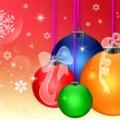 NEW YEAR'S BACKGROUND WITH CHRISTMAS BALLS ON RED BACKGROUND — Stock Photo