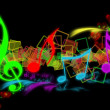 Stock Photo: COLOURFUL SHONE MUSICAL NOTES