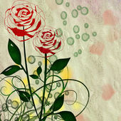 ROSES ON GRUNGE BACKGROUND — Stock Photo