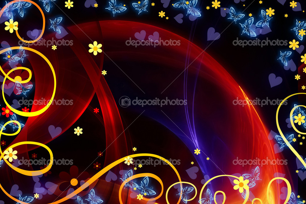 ABSTRACT BACKGROUND WITH  FLOWERS AND BUTTERFLIES — Stock Photo #4530981