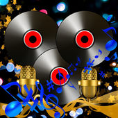 MUSICAL COMPOSITION WITH VINYL DISKS AND MICROPHONES — Stock Photo