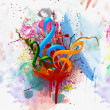 Colorful Musical Watercolor Background - Stock Photo