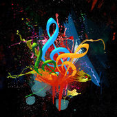 Colorful Musical Watercolor Background — Stockfoto