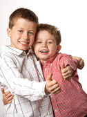 Two young boys with thumbs up — Stock Photo