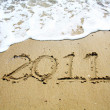 2011 writes on sand — Stock Photo