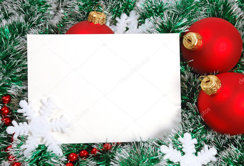 Blank christmas greeting card and garland, snowflakes, balls — Stock Photo #4448996