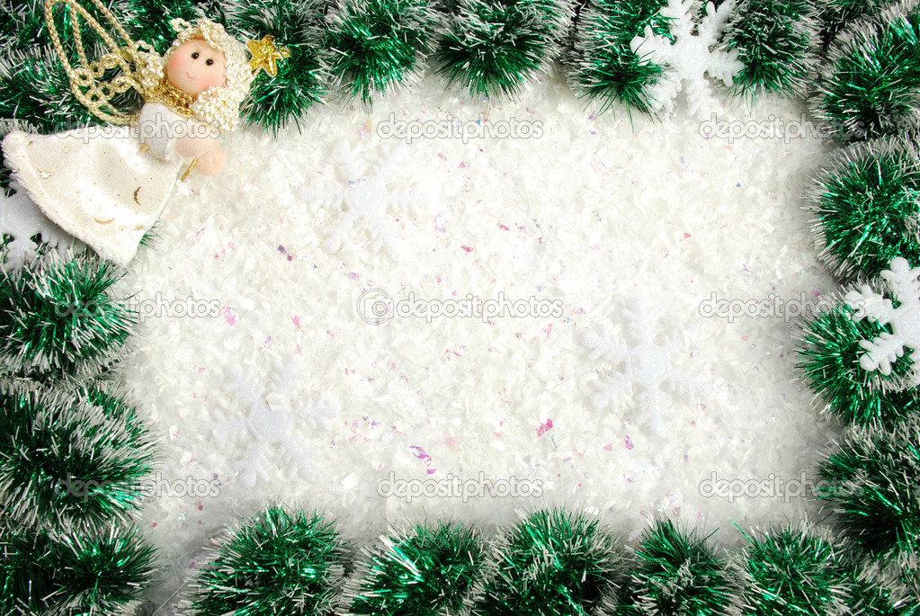 Christmas frame from a garland, snowflakes and angel — Stock Photo #4468349