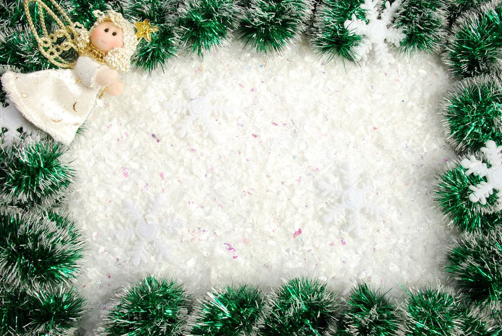 Christmas frame from a garland, snowflakes and angel — Stock Photo #4468381