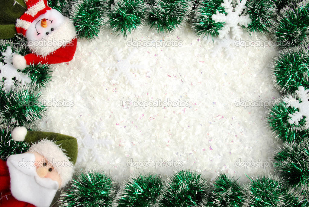 Christmas frame from a garland, snowflakes and angel — Stock Photo #4468395
