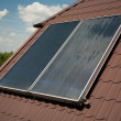 Flat-plate solar collector - Stock Photo